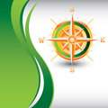 Vertical green wave backdrop compass Stock Photos