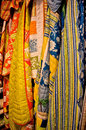Vertical hanging quilts colorful with various patterns vertically Royalty Free Stock Photos