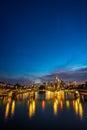 Vertical image of illuminated Frankfurt skyline at night Royalty Free Stock Photo