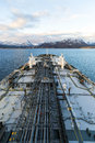 Vertical image of tanker deck in Norway Royalty Free Stock Photo