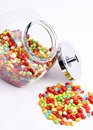 Vertical jar of jelly beans Royalty Free Stock Images
