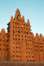 Vertical of minaret on Djenne mosque Stock Photo
