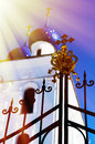 Vertical orthodox church gate design element with light leak bac Royalty Free Stock Photo