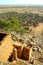 Vertical overview of a Dogon village Stock Images