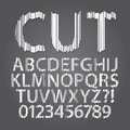 Vertical paper cut alphabet and digit vector set of Stock Photos
