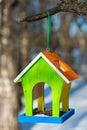 Vertical photograph bird feeders handcrafted