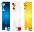 Vertical polygon christmas banners set of colorful Stock Photo