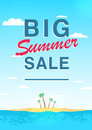 Vertical poster on big summer sale theme. Bright promotional flyer with sky, sea, island and palm trees. Colorful