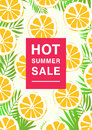 Vertical poster on hot summer sale theme. Bright promotional flyer with lemon slices and palm leaves. Colorful