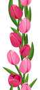 Vertical seamless background with pink tulips. Royalty Free Stock Photo