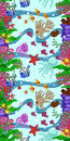 Vertical seamless pattern with marine life: fish, starfish, jellyfish, seaweed, shells, bubbles and corals. Hand draw art