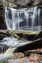 Vertical shot of Elakala Falls on Shays Run at Blackwater Falls State Park in West Virginia Royalty Free Stock Photo
