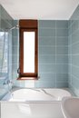 Vertical Shot of light bathtub in a bathroom. Royalty Free Stock Photo