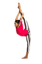 Vertical splits latina dancer girl isolated Royalty Free Stock Photos