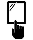 Vertical tablet with hand icon black vector sign of pc situated vertically index finger isolated on white background Royalty Free Stock Photos