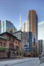 Vertical of Toronto buildings with CN tower in background Royalty Free Stock Photo