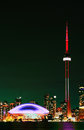 Vertical of the Toronto, Canada skyline at night Royalty Free Stock Photo