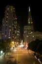 Vertical of Transamerica building in francisco at night Stock Photos