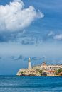 Vertical view of the castle of El Morro in Havana Stock Image