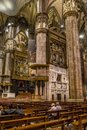 Vertical of Center Nave columns and tile floor inside interior Duomo di Milano Royalty Free Stock Photo