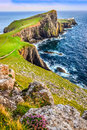 Vertical view of neist point lighthouse and rocky ocean coastlin coastline scotland united kingdom Stock Photography