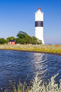 Vertical view for oland s southern lighthouse summer swedish landscape witn on island Stock Photo