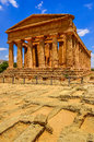 Vertical view of ruins of ancient temple in Agrigento, Sicily Royalty Free Stock Photo