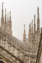 Vertical view of stone sculptures on roofs of Duomo Milano Royalty Free Stock Photo