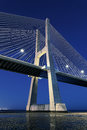 Vertical view vasco da gama bridge night lisbon Stock Image