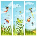 Vertical web banners with illustrations of cartoon insects