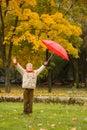 Verticale de garçon en stationnement d'automne. Photo libre de droits