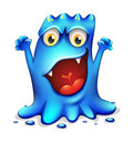 A very angry blue monster illustration of on white background Royalty Free Stock Image