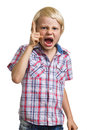 Very angry shouting boy with finger raised on white isolated background Royalty Free Stock Image