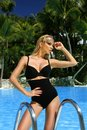 The very beautiful blonde woman is standing in the sexy black swimsuit lingerie Royalty Free Stock Photo