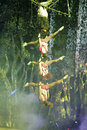 Very challenging complex aerial acrobatics swing of xiamen lingling circus amoy city china Royalty Free Stock Photos