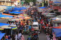 Very crowded traditional market in Sumatra Royalty Free Stock Photo