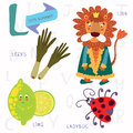 Very cute alphabet.L letter.Leeks, lion, ladybug, lime.