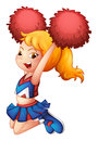 A very cute cheerdancer with her red pompoms Royalty Free Stock Photo