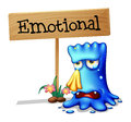 A very emotional monster near a signboard illustration of on white background Stock Photos