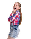 Very excited little girl on white background Royalty Free Stock Images