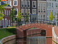Very expensive houses canal and bridge in op buuren buiten the netherlands Stock Photo