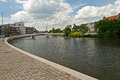 Very expensive houses and canal in op buuren buiten the netherlands Stock Photography