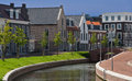 Very expensive houses and canal in op buuren buiten the netherlands Stock Photo