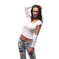 Very Expressive sexy brown girl in a white torn top Royalty Free Stock Photo