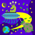 Very happy alien flying saucer carrying bag full dollar bills Royalty Free Stock Photos
