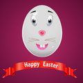 Very happy easter easter bunny egg with red ribbon vector eps i have created card in form Stock Photo