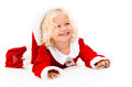 Very happy female santa portrait of a smiling isolated over white Royalty Free Stock Photos