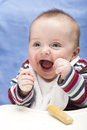 Very happy messy months old boy excited month Royalty Free Stock Photography