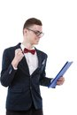 Very happy young business man with a clipboard in hand Royalty Free Stock Photo