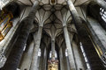 Very high medieval church with majestic ceiling. Interior. Royalty Free Stock Photo